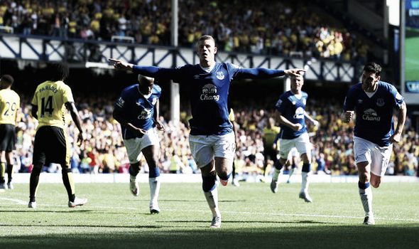Ross Barkley celebrates after scoring for Everton in the 2-2 draw when the two sides last met. | Photo: Getty Images