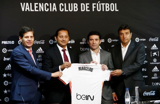 De izquierda a derecha: Alemany, Murthy, Marcelino y Alesanco durante la presentación del entrenador | Fotografía: VCF