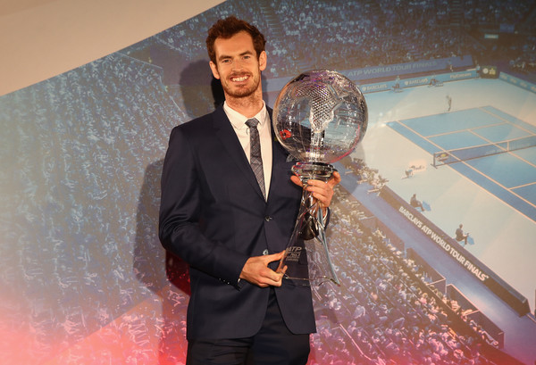 Andy Murray with the trophy for reaching world number one (Photo by Julian Finney/Getty Images)