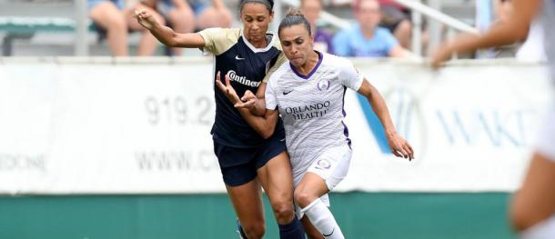Marta could not influence the game as she usually does due to how well North Carolina defended | Source: orlandocitysc.com
