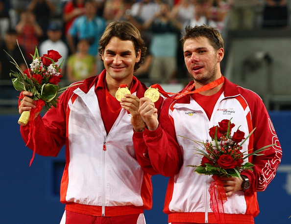 Federer and countryman Stan Wawrinka took home the gold in men's doubles in 2008. Credit: Professional Sport/Getty Imagea