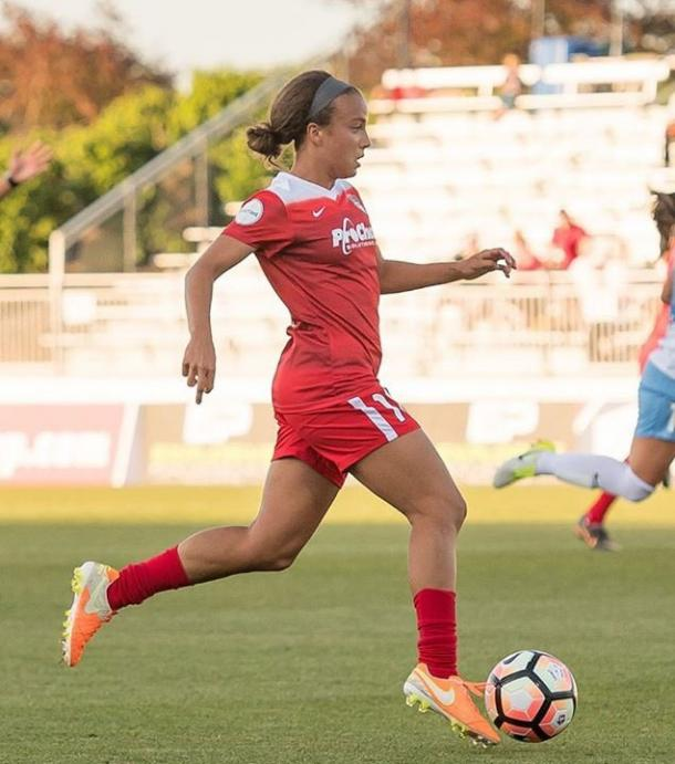 Mallory Pugh of the Washington Spirit on June 3rd, 2017 where she scored her first professional goal. Photo: Washington Spirit Twitter