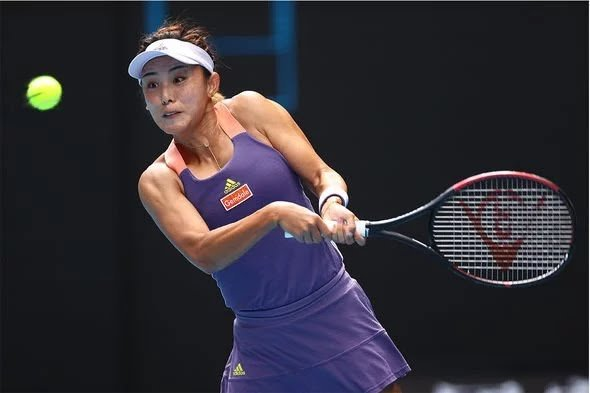 Wang was controlling play from the baseline throughout the match/Photo: Cameron Spencer/Getty Images