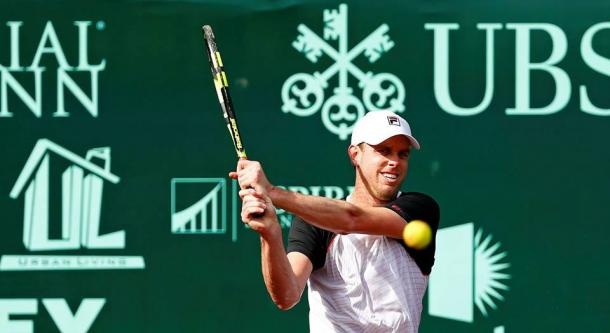 Sam Querrey plays a backhand during his second round match. Photo: Photo: Aaron M. Sprechner/ROCC