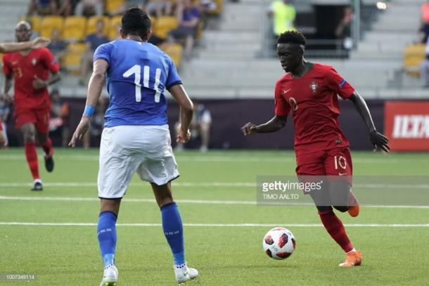 Quina during the 2018 UEFA European Under 19 Championship final between Italy vs Portugal. Source | Getty Images.