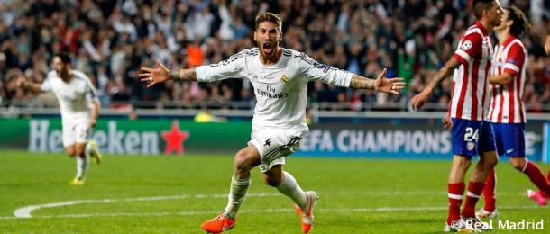 Sergio Ramos anotó en los últimos minutos ante el Atlético de Madrid en la final de la Champions, convirtiéndose en héroe del partido   Fuente: realmadrid.com