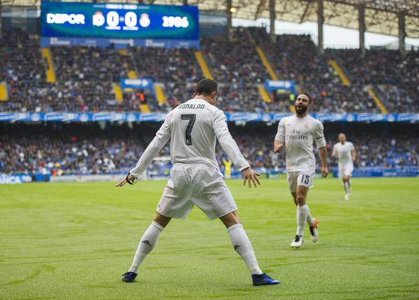 La celebre esultanza del fuoriclasse di Madeira. Per lui sono 36 gol in Liga. Fonte: Getty Images.