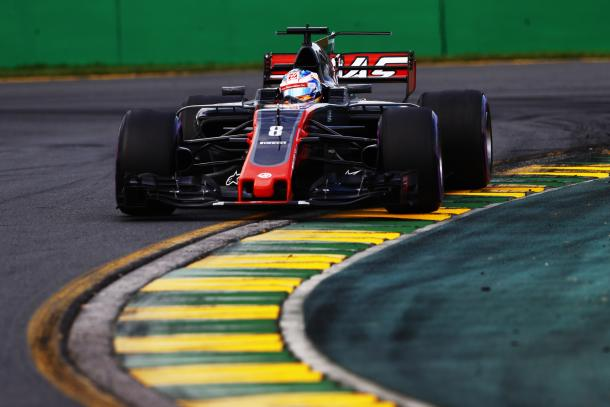 Romain Grosjean in the Haas starts a credible 6th | Picture Credit: Haas F1 Team