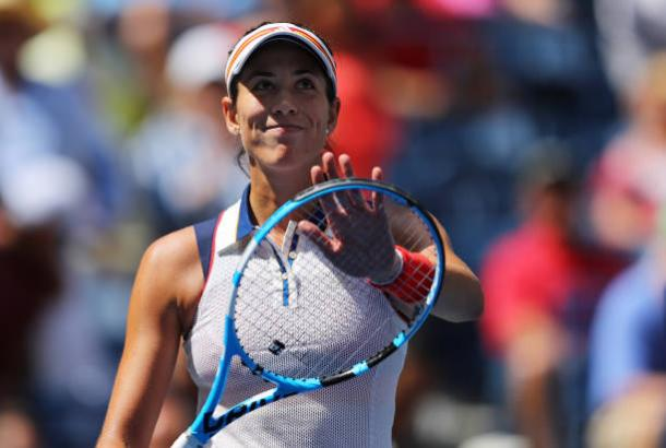 Muguruza celebrates a comfortable first round victory (Getty/Richard Heathcote)