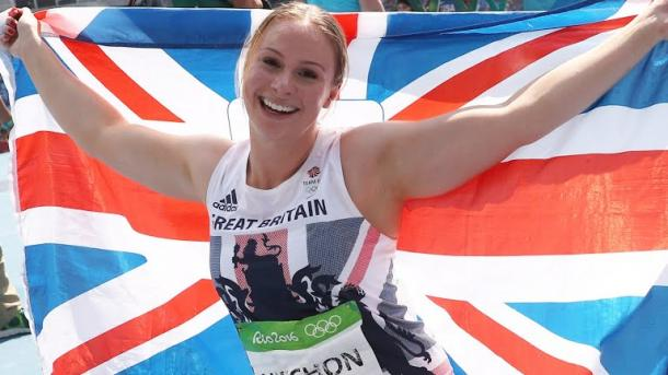 Hitchon celebrates her incredible achievement. (Photo: Rio 2016)