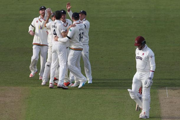 Graham Onions celebrates bowling Marcus Trecothick out (Photo: Getty Images)