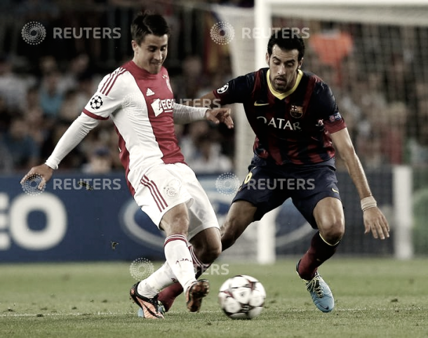 Bojan en su regreso al Camp Nou vestido con la camiseta del Ajax. Foto: Reuters.