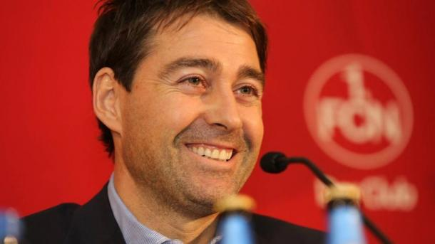 Weiler was all smiles after being appointed as FCN boss. | Source: Bundesliga.de