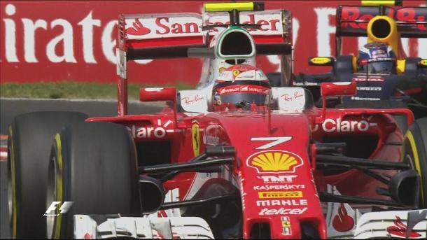 Räikkönen e Verstappen duelaram por muito tempo pela quinta posição (Foto: Divulgação/F1)