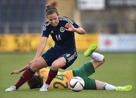Rachel Corsie in action during the Vauxhall International Challenge Womens Match between Scotland and Australia | Source: Ben Radford - Corbis via Getty Images