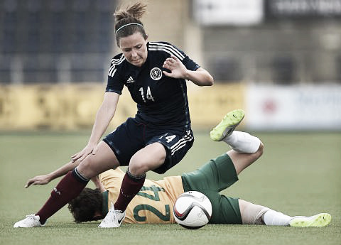 Rachel Corsie in action during the Vauxhall International Challenge Womens Match between Scotland and Australia | Photo: Ben Radford/Getty Images