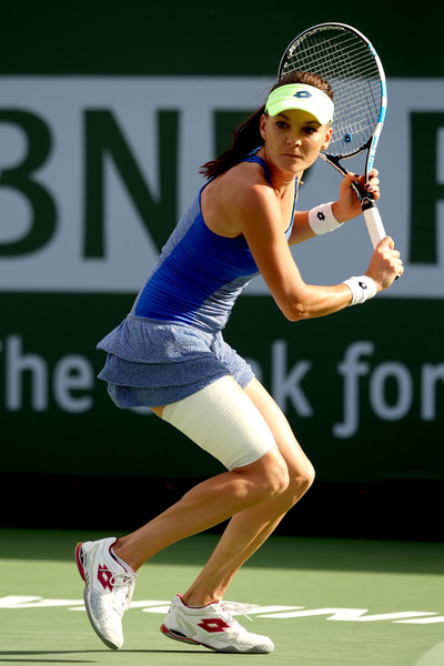 Agnieszka Radwanska prepares for a backhand in Indian Wells. Photo: Matthew Stockman/Getty Images