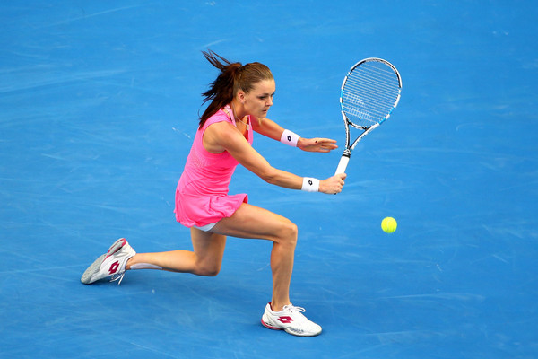 Radwanska plays a backhand during her second round match. Photo: Scott Barbour/Getty Images