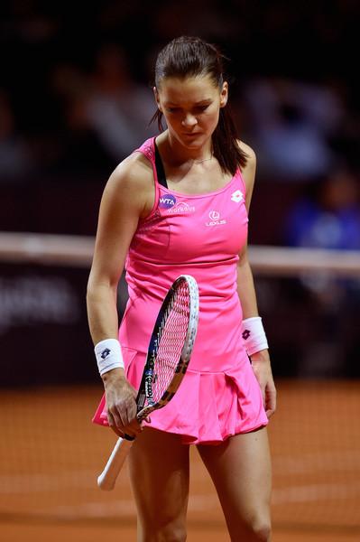 Agnieszka Radwanska looks disappointed during her loss in Stuttgart. Photo: Dennis Grombkowski/Getty Images