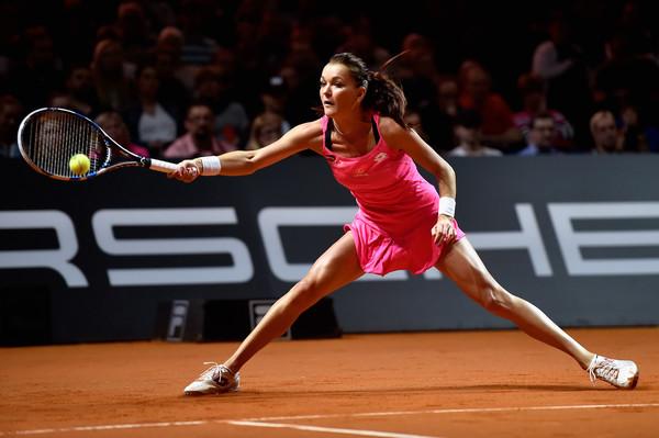Radwanska slides into a forehand in Stuttgart. Photo: Dennis Grombkowski/Getty Images