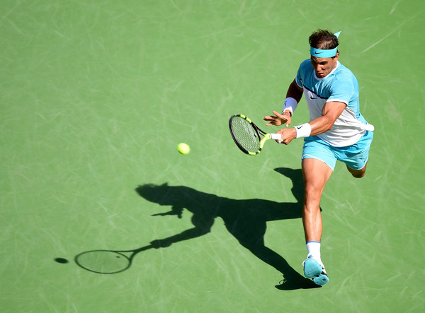 Rafael Nadal hits a running forehand during the 2016 BNP Paribas Open. | Photo: Harry How/Getty Images North America