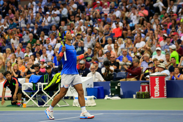 Rafael Nadal celebrates winning a big point at the US Open in New York City/Getty Images