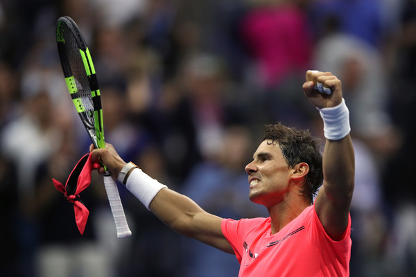 Nadal celebrates after his quarterfinal triumph (Photo: Matthew Stockman/Getty Images North America)