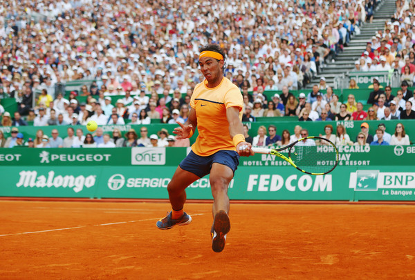 Rafael Nadal hitting a forehand during the 2016 Monte Carlo Rolex Masters final against Gael Monfils, a match he would go on to win to claim his ninth Monte Carlo crown.
