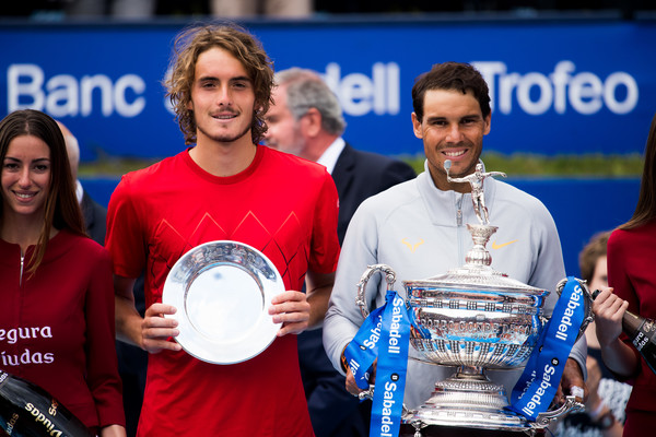 Nadal and Tsitsipas was full of smiles during the trophy ceremony, and they deserved to be proud of their results this week | Photo: Alex Caparros/Getty Images Europe