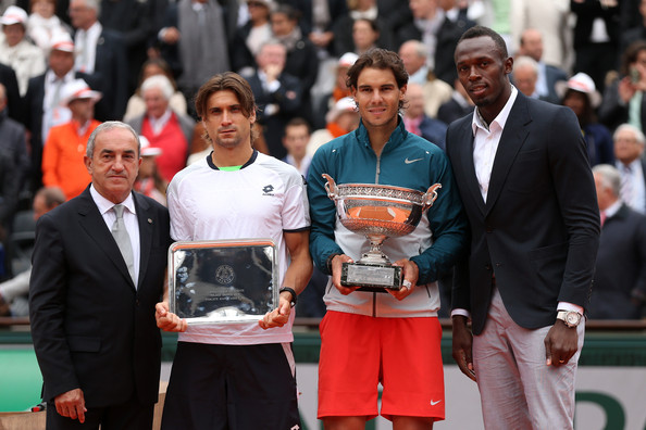 (L-R) President of the International Tennis Federation Francesco Bitti Ricci, runner up David Ferrer of Spain, winner Rafael Nadal of Spain and Olympic champion Usain Bolt pose after the mens' singles final during day fifteen of the French Open at Roland Garros on June 9, 2013 in Paris, France. (Photo by Matthew Stockman / Getty Images)