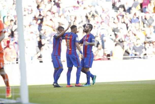Rafinha anotó por partida doble | Foto: FCB
