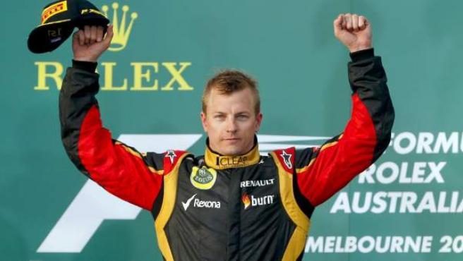 Kimi celebrando la victoria en Albert Park 2013. / Fuente: F1