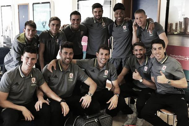 Ramirez was pictured with the Boro squad on the way to Marbella on Monday