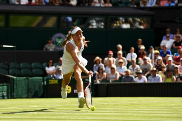 Johanna Larsson's quest for a first ever win at Wimbledon continues following her defeat (Getty/David Ramos)