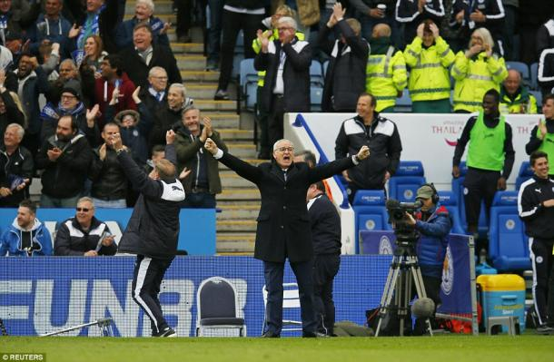 Ranieri celebrates one of Leicester's goals. | Image source: Reuters