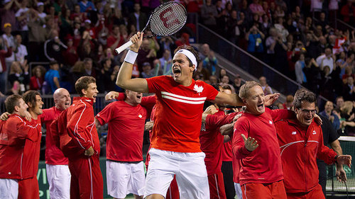 Milos Raonic celebrates Canada's win over Spain in 2013. Photo: Darryl Dyck/Canadian Press