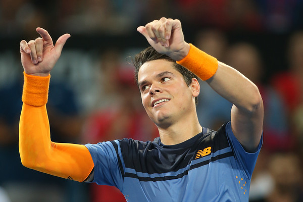 Milos Raonic celebrates his win in Brisbane. Photo: Chris Hyde/Getty Images
