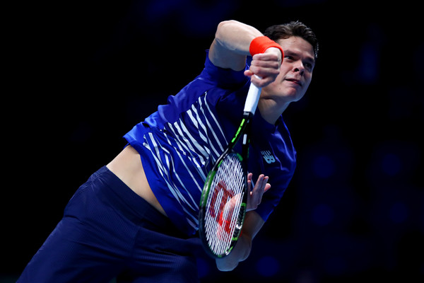 Milos Raonic serves during his opening match win. Photo: Clive Brunskill/Getty Images