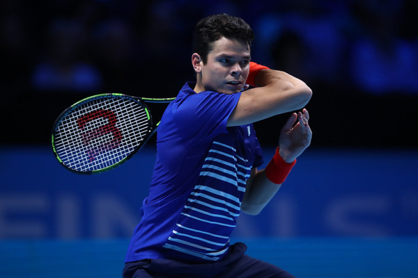 Milos Raonic drives a forehand during his loss at the O2. Photo: Clive Brunskill/Getty Images