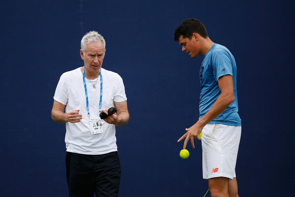 Raonic (left) in practice with McEnroe at the Queen's Club. Photo: Joel Ford/Getty Images