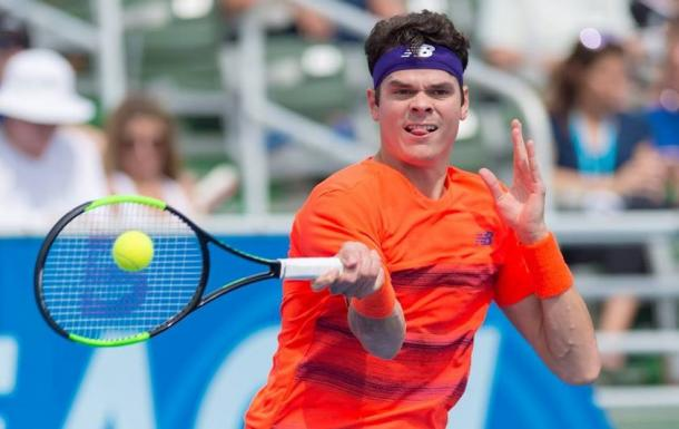 Raonic hits a forehand earlier in the week in Florida. Photo: Delray Beach Open