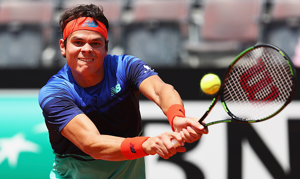 Raonic hits a backhand during the first round win. Photo: Matthew Lewis/Getty Images