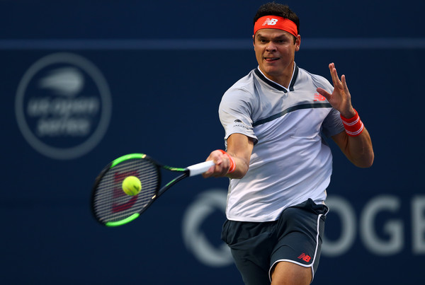 Raonic crushes one of his monster forehands during the win over Goffin. Photo: Getty Images