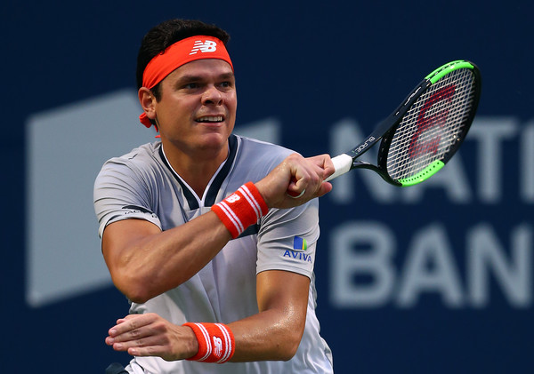 Milos Raonic looks on after a forehand during his first round win in Toronto. Photo: Getty Images