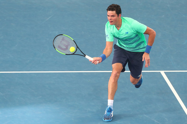 Raonic hits a forehand volley during his second round win. Photo: Chris Hyde/Getty Images