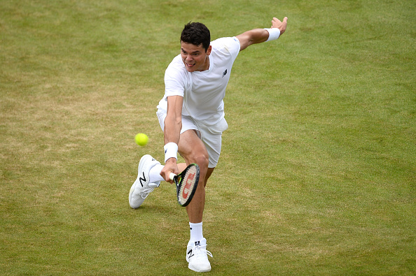 Milos Raonic plays a backhand during his second round win. Photo: Patrik Lundin/Getty Images