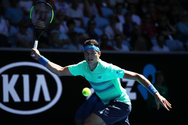 Raonic lines up a forehand on Thursday in Melbourne. Photo: Mark Kolbe/Getty Images