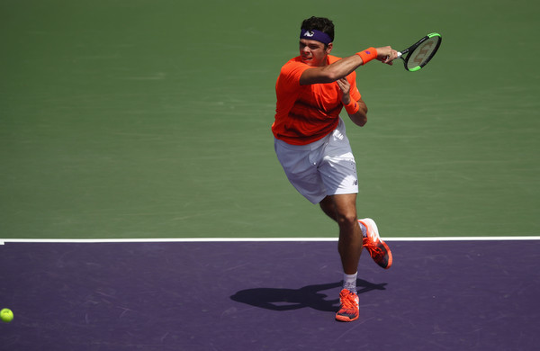 Raonic rips a forehand during his opener in Miami. Photo: Julian Finney/Getty Images