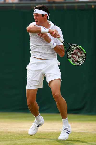 Raonic follows through on a forehand. Photo: Michael Steele/Getty Images