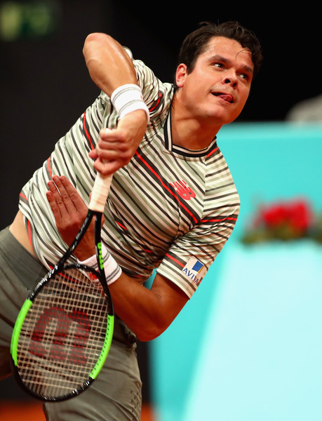 Milos Raonic tees off on one of his epic serves during the upset victory. His serve was utterly dominant in this match. Photo: Clive Brunskill/Getty Images